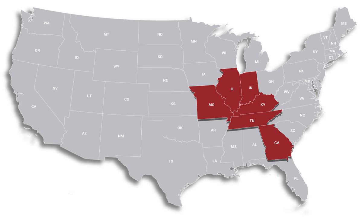 Henneberger & Flynn proudly serves the states of Kentucky, Illinois, Indiana, Tennessee and Georgia